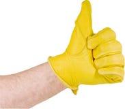большие пальцы руки кожи для перчаток вверх Стоковая Фотография