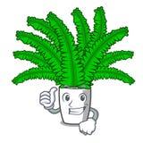 Большие пальцы руки поднимают красивые папоротники шаржа в зеленой листве иллюстрация вектора