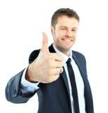 Большие пальцы руки счастливого бизнесмена идя вверх Стоковые Фотографии RF
