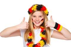 большие пальцы руки футбола вентилятора немецкие вверх Стоковое фото RF