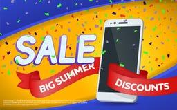 Большие скидки лета Дизайн шаблона знамени продажи Smartphone, яркая лента и confetti Знамя с желтой предпосылкой Вектор i Стоковое фото RF