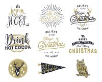 Большие с Рождеством Христовым цитаты оформления, пачка желаний Sunbursts, лента и элементы noel xmas, значки Новый Год Стоковые Изображения RF