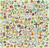 Большие установленные иконы Doodle Стоковое фото RF