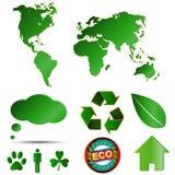 Большие установленные логосы eco Стоковые Изображения