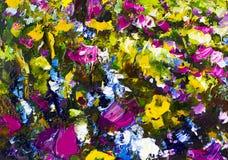 Большие цветки конспекта текстуры Конец вверх по части цветков картины маслом художнических отображает Нож палитры цветет макрос  Стоковое Изображение RF