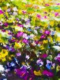 Большие цветки конспекта текстуры Конец вверх по части цветков картины маслом художнических отображает Нож палитры цветет макрос  Стоковая Фотография RF