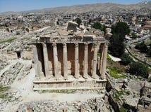 Больший взгляд сверху Созданный DJI Mavic Древний город Баальбек Самый высокий античный висок Ливан Жемчуг ЮНЕСКО Ближнего Восток стоковые изображения