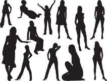большими силуэты 1 установленные девушками Стоковое Изображение