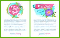 Большими цветок предложения скидок продажи весны установленный плакатами Стоковое фото RF