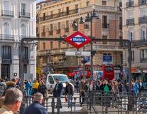 Большинств известные квадраты в Мадриде - Puerta del Sol Квадрате стоковое фото