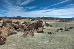 Большинств узнаваемый взгляд держателя Teide на Тенерифе Красивый ландшафт в национальном парке на Тенерифе с известным утесом, стоковая фотография rf