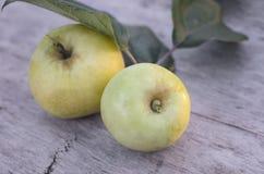 2 больших желтых яблока лежат на старом деревянном столе outdoors Стоковая Фотография RF