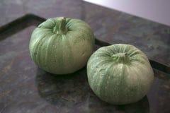 2 больших зеленых тыквы Стоковые Изображения RF