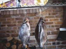 2 больших копченых рыбы висят на предпосылке штабелированного швырка Стоковое фото RF