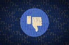 Большого пальца руки вопросы безопасностью и уединением вниз Концепция encription данных Стоковое Изображение