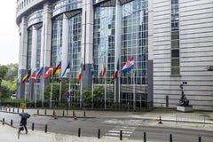 Большое административное здание в Брюсселе/Бельгии/06 27 2016 Европейский парламент выставка Мичигана американского автоматическо стоковое изображение rf