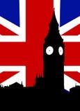 Большое Бен и флаг Королевства Соединенного Стоковые Изображения