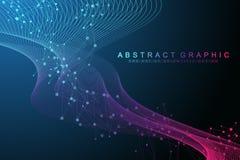 Большое генное визуализирование данных Винтовая линия дна, стренга дна, молекула испытания дна или атом, нейроны Абстрактная стру иллюстрация штока