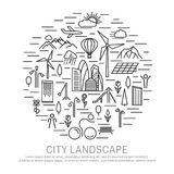 Большое знамя концепции города кругом Стоковое Фото