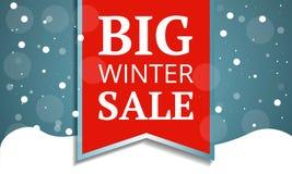 Большое знамя концепции продажи зимы, стиль мультфильма иллюстрация вектора