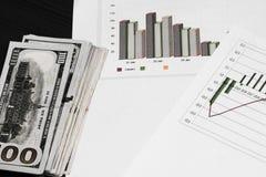 Большое количество долларов США для предпосылки с диаграммами и диаграммами Стоковое Фото