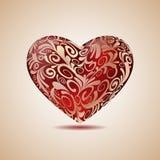 Большое красное флористическое сердце Стоковые Изображения