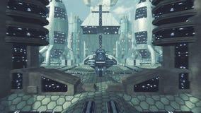 Большое перемещение через футуристический город scifi с зеленым экраном 4K видеоматериал