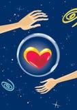 Большое сердце в космосе иллюстрация штока