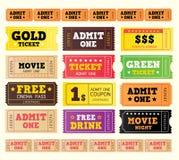 большое собрание кино снабжает сбор винограда билетами иллюстрация штока