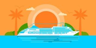 Большое туристическое судно на заходе солнца в океане иллюстрация вектора