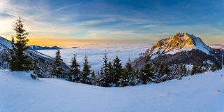 Большое Rozsutec в зиме Стоковые Фото