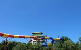 Большое waterboom для детей и взрослых стоковые изображения rf