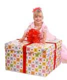 большое whith девушки подарка коробки Стоковая Фотография