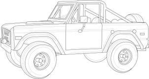 Большой автомобиль, тележка с планами Иллюстрация вектора в светотеневом бесплатная иллюстрация