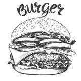 Большой бургер, иллюстрации вектора руки гамбургера эскиз вычерченно иллюстрация штока