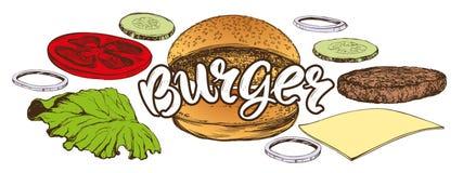 Большой бургер, иллюстрации вектора руки гамбургера эскиз вычерченной реалистический иллюстрация штока