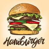 Большой бургер, стиль эскиза иллюстрации вектора гамбургера нарисованный рукой ретро иллюстрация вектора