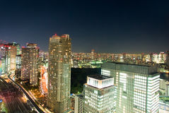 большой взгляд ночи города Стоковое Изображение RF