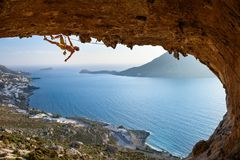 Большой взгляд острова Kalymnos Живописный заход солнца лета на famo Стоковое фото RF