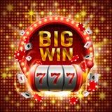 Большой выигрыш прорезает казино 777 знамен иллюстрация вектора