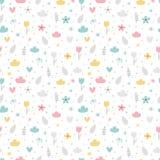 Картина руки вычерченная безшовная с цветками, звездами, сердцами и облаками E Большой для дня рождения, ткани, ткани, стоковые изображения rf