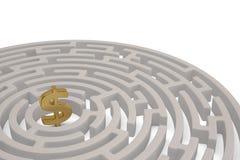 Большой золотой доллар подписывает внутри центр лабиринта иллюстрация 3d бесплатная иллюстрация
