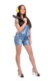большой ключ женщины удерживания Стоковая Фотография