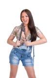 большой ключ женщины удерживания Стоковые Фотографии RF