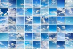 Большой коллаж с облаками - кумулюс, циррус, дождь, ясное небо Стоковое Изображение