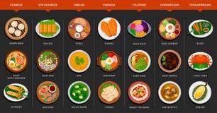 Большой комплект азиатской еды бесплатная иллюстрация