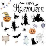 Большой комплект вектора иллюстраций на хеллоуин стоковая фотография rf