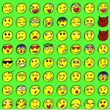 Большой комплект вычерченных улыбок Покрашенные улыбки вектор Стоковые Фото