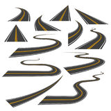 Большой комплект кривых шоссе или дороги, поворотов, и перспектив Стоковая Фотография