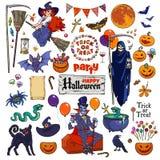 Большой комплект персонажей из мультфильма и объектов хеллоуина Стоковые Изображения RF